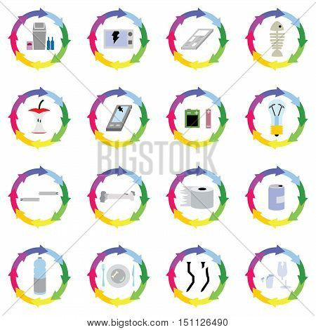 recycle of many waste such as broken microwave oven, mobile phone, bottle, glass, lamp, food vector idea