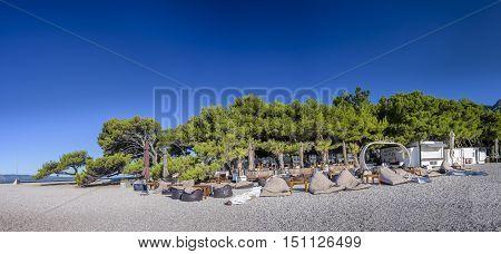 BOL, ISLAND BRAC, CROATIA - JULY 17, 2016: Aurum club at Zlatni rat beach in the morning before guests are arriving at the club