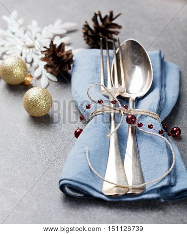 Christmas And New Year Holiday Table Setting Celebration Place setting for Dinner Decorations Copy space.