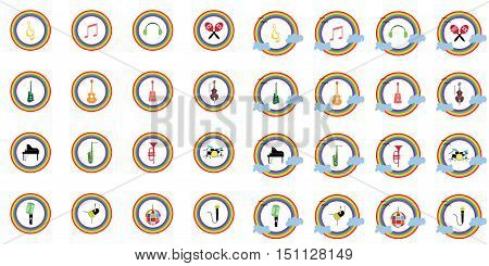 music instruments vector include guitar, cello, piano, drums with rainbow concept