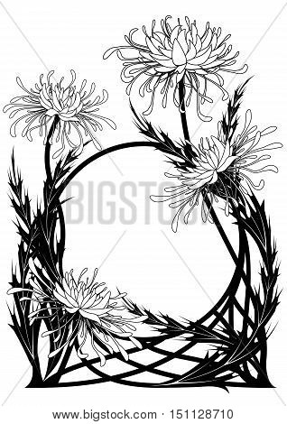 vector frame with chrysanthemum in black and white color