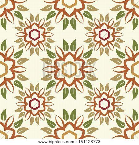 anstract flower leaves season seamless pattern vector illustration