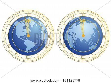 set of vector illustrations of clock with clock-face as globe