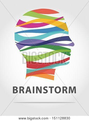 color idea man with stripes brainstorm concept