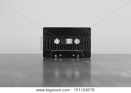 Vintage Cassette Tape in Black and White
