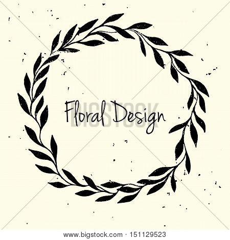 Hand drawn leaf wreath invitation card. Hand drawn vector illustration of wreath on light background. Floral design.