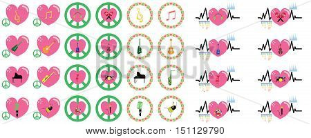music instruments vector include guitar, cello, piano, drums under love and peace concept