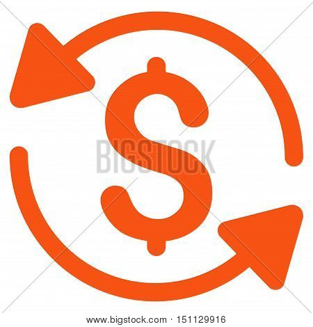 Money Turnover icon. Glyph style is flat iconic symbol with rounded angles, orange color, white background.