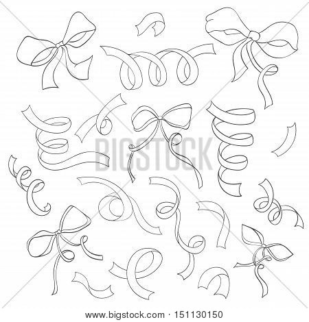 Hand drawn set of ribbons can be used for holiday cards, wedding invitation, postcard or website. Vector invitation banner. Retro design. Art concept.