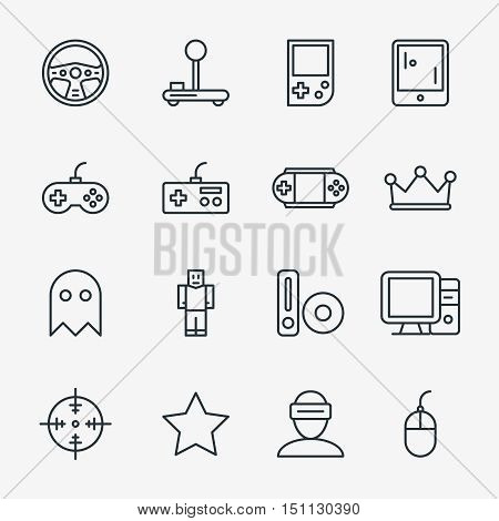 Video game linear icon set vector. Set of concept icons video game, joystick and tablet for video game illustration poster