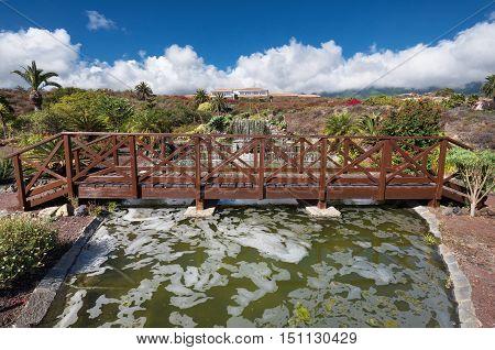 LA PALMA SPAIN - SEPTEMBER 9: Garden of parador Nacional hotel on September 9 2016 in La Palma Canary island Spain.