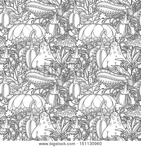 Seamless garden pattern in doodle style. Floral, ornate, decorative, tribal vector design elements. Black and white monochrome background. Pumpkins, berries and leaves. Zentangle coloring book page