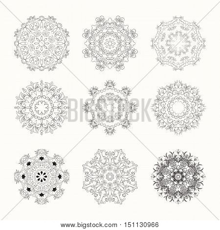 Hand drawn mandala set can be used for wedding invitation, postcard or website. Vector indian set. Ethnic boho design. Art concept.