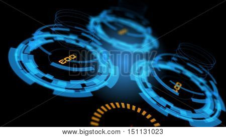 Blue abstract advanced technology control panel user interface. 3D rendering.