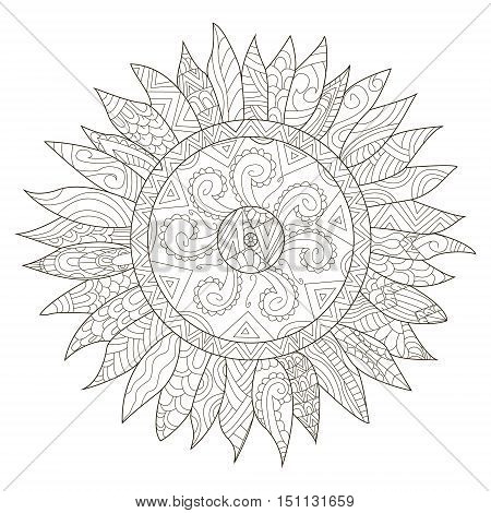 Mandala flower sunflower coloring book for adults vector illustration. Anti-stress coloring for adult. Zentangle style. Black and white lines. Lace pattern