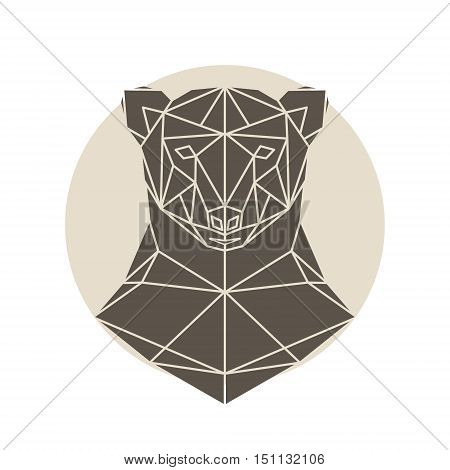 Bear head triangular icon geometric pattern trendy line design. Brown bear polygonal portrait. Abstract low poly design.