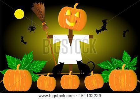 Scarecrow , Halloween scarecrow , Scarecrow pumpkin and bats ,