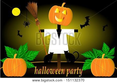 Scarecrow , Halloween scarecrow , Scarecrow pumpkin and bats , halloween party