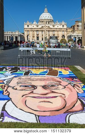 Rome Italy - June 29 2014: Pope Francesco portrait in Floral decoration in the way of reconciliation during the traditional Flower Festival for the patron saints of Rome. St. Peter and Paul. Rome Italy