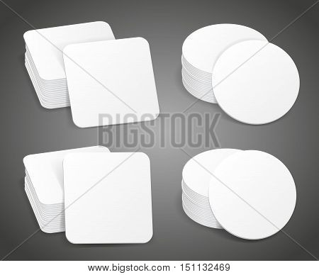 Paper blank beer coasters vector. Pile of white coasters, mockup paper coaster for mug beer illustration