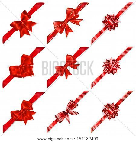 Set Of Red Bows With Diagonal Ribbons