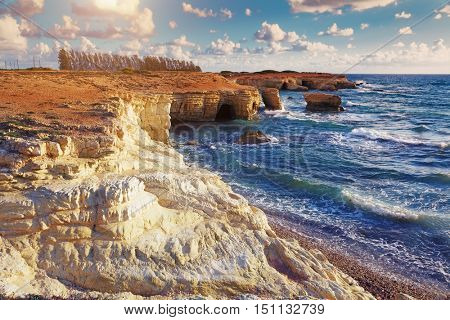 Sea Caves near Paphos. Mediterranean Sea coast. Cyprus.