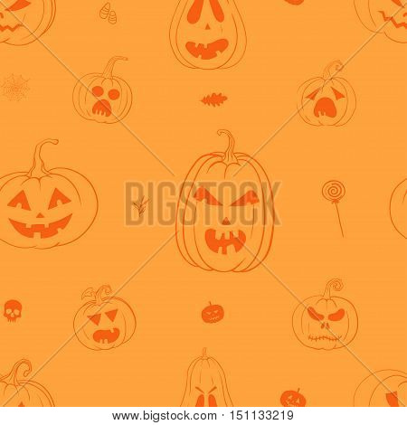 Vector seamless pattern with pumpkins. Orange and yellow Halloween pattern with carved pumpkins.