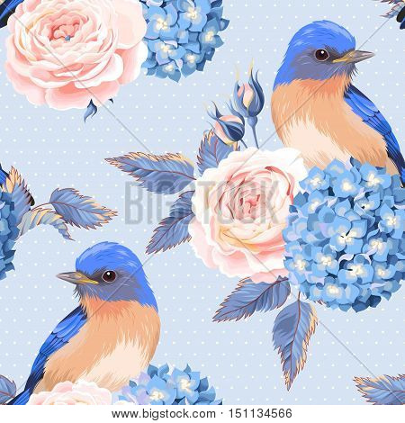 Vintage roses flowers and birds vector seamless background