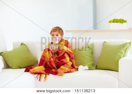 Sad Kid Watching Tv At Home With Napkins