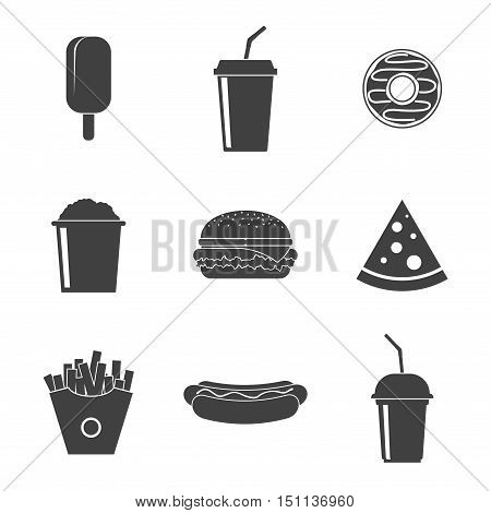 Set Fast food vector icons isolated on white background. Fast food hamburger dinner, soda, pizza and restaurant, tasty fast food icon meal and unhealthy fast food classic nutrition in flat style.