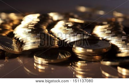 Coin piles symbol of finance and business