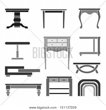 Set of eleven tables of various styles