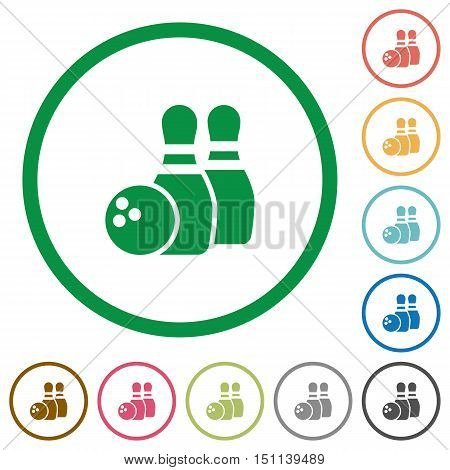 Set of bowling color round outlined flat icons on white background