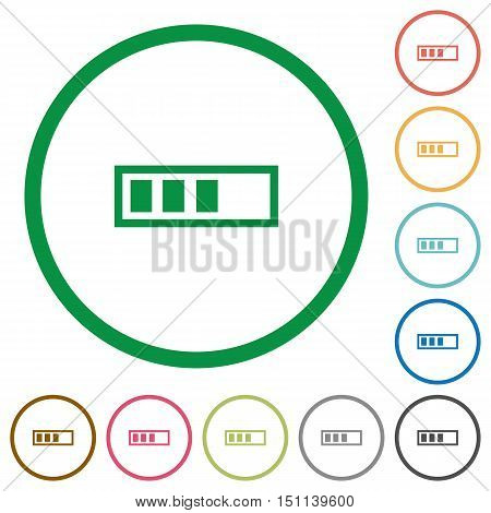 Set of progressbar color round outlined flat icons on white background