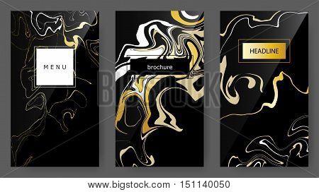 Vector Set Ink pseudo Marbling texture artistic templates ebru backgrounds. Brochure headline menu mobile user interface trendy card design