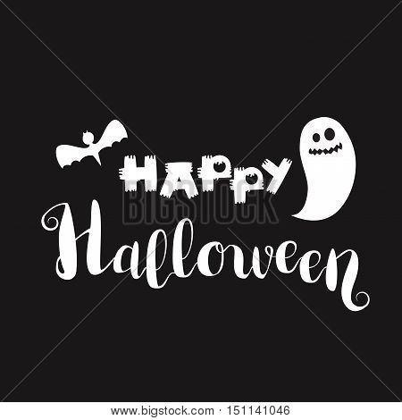 Happy Halloween Lettering with ghost and bat. Trick or treat concept for print fabric greeting card banner t-shirt. Poster with halloween text. Vector