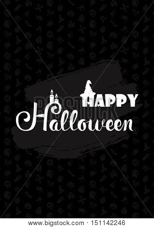 Happy Halloween Lettering with candles hat. Trick or treat concept for print fabric greeting card banner t-shirt. Poster with halloween text. Vector