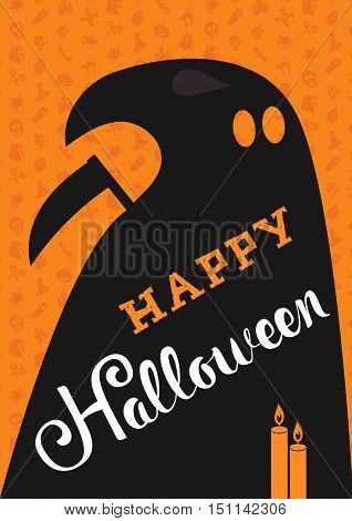 Happy Halloween Lettering with candles death. Trick or treat concept for print fabric greeting card banner t-shirt. Poster with halloween text. Vector