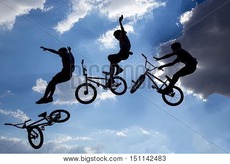 Bike Jump Silhouettes Multiple Exposure