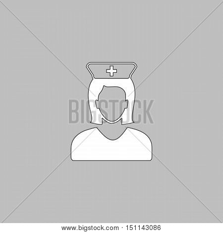 Nurse Simple line vector button. Thin line illustration icon. White outline symbol on grey background