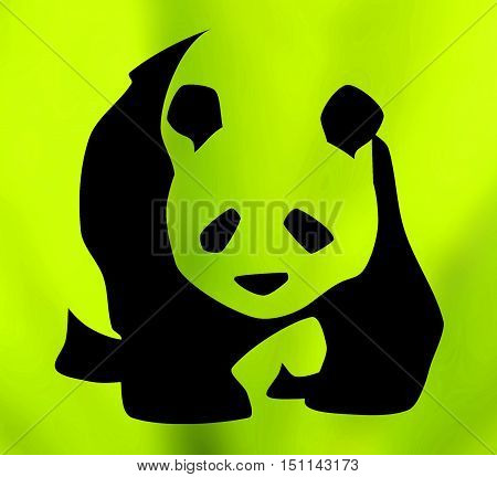 Symbol of giant panda against green background