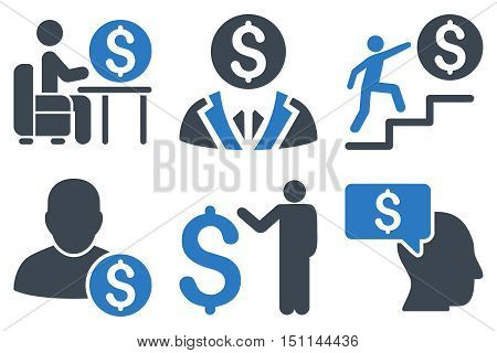 Businessman glyph icons. Icon style is bicolor smooth blue flat symbols with rounded angles on a white background.