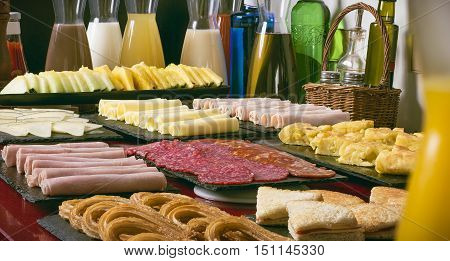 delicious buffet for breakfast with spanish products