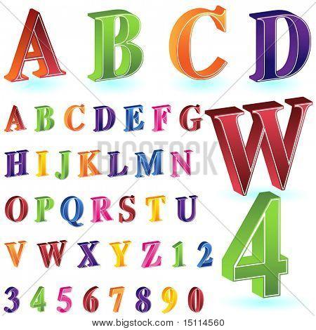 isometric letter number set white