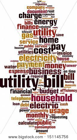 Utility bill word cloud concept. Vector illustration