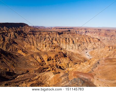 Dry and rocky Fish River Canyon in southern Namibia. The largest canyon in Africa and the second most visited tourist attraction in Namibia.