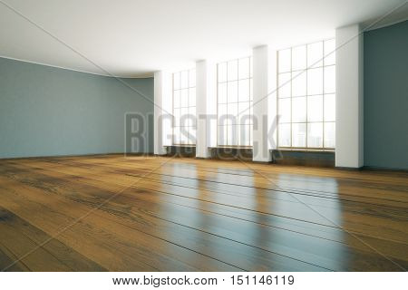 Modern unfurnished interior with wooden floor and windows with city view. 3D Rendering