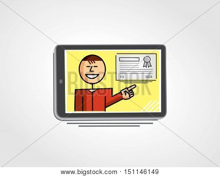 Virtual teacher in the tablet screen pointing to a certificate