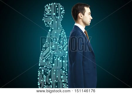 Businessman with digital partner standing back-to-back on dark background