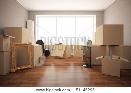 Stacks of cardboard boxes with various objects in clean room with wooden floor grey walls and windows. Moving in concept. Front view 3D Rendering